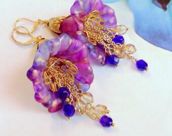 Lucite Earrings, Hand Painted Flower Earrings, Fuchsia and Blue, Pink and Blue Flower Earrings, Handmade Earrings, Painted Earrings, Floral