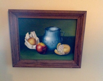 Wonderful original stilllife oil painting.....1940s.....vibrant colors....wood frame