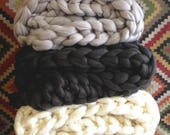 """ON SALE Carbon Super Chunky Knit Merino Blanket, 40"""" x 58"""", Chunky Wool Blanket, Giant Knitting, Giant Super Bulky Knit Blanket, Extreme"""