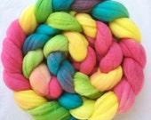 Rainbow Candies Hand dyed combed top Australian Superfine Merino 18.5 micron single origin  100g