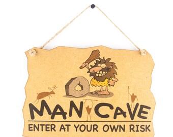 Man cave sign - enter at your own risk wooden sign - gift for men - mancave funny shed sign