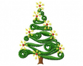 Machine Embroidery Swirl Christmas Tree