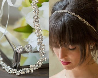 wedding hair accessories, silver bridal headband, wedding headband, bridal hair accessories, crystal wedding headband, wedding hair,  H81-S