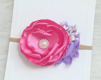 Pink Singed Flower Headband | Nylon Headband | Pink and Lavender Headband | Newborn Headband | Baby Headband