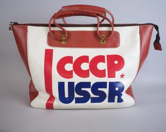 Large 1980s CCCP USSR 1984 Olympic Games Holdall Bag / Russia Travel Bag
