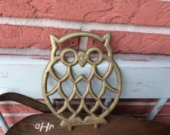 Owl trivet vintage hot plate brass trivet