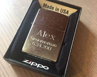 Personalized Zippo Lighter, Zippo Classic Street Chrome Lighter, Groomsmen Gifts, Birthday Gift, Father's Day Gift, Anniversary Gift  - Z207