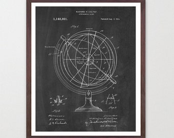 Astronomy Poster - Astronomical Globe - Astronomy Patent - Star Chart - NASA Patent - Space Poster - Space Art  - NASA - NASA Poster