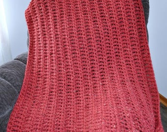 FREE SHIPPING-Crochet Blanket- Brick Red Tweed, Super Bulky- Super Chunky Acrylic Yarn, Made with Two Strands For an Extra Thick Blanket