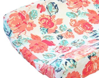Everlys Garden Changing Pad Cover | Coral and Navy Nursery