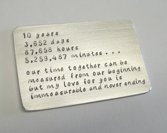 Anniversary Gift Card ~ Any Year ~ Personalized Hammered Metal Note card ~ Traditional 10 Year Tin Gift