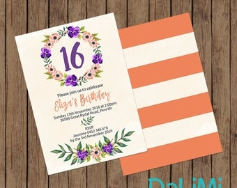 5 x 7 inch Floral Party Invitation - Birthday Invitation - Baby Shower Invitation - Purple and Orange Invitation - Printable Invitation!