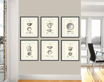 French Limoges Patent Art Print Dining Room Poster Tea Wall Vintage