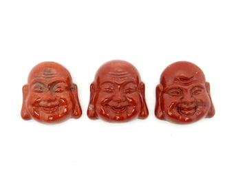 Budha Cabochon Petite Red Jasper Buddah Head Cabochon - (RK78B16-22)