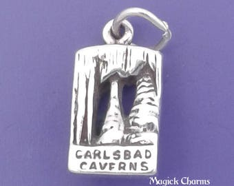 CARLSBAD CAVERNS Charm .925 Sterling Silver New Mexico, Small Pendant - sc712