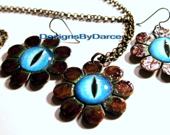 Blue Eyed Daisy Flowers Earring Necklace Set Brass Lobster Clasps Roll Chain