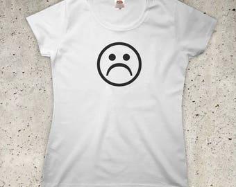 Sad Face T-Shirt - All Colours - Womens XS S M L XL