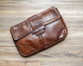 1970s Brown Leather Clutch Purse Pouch