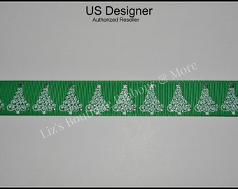 Christmas tree ribbon, 3yds, 7/8, tree ribbon, US Designer grosgrain ribbon, Christmas trees, foil ribbon, green, USD, hair bow supplies,