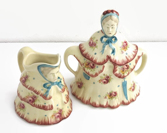 Vintage Little Old Lady sugar bowl and creamer, with old ladies in crinoline dresses, made in England, Tony Woods, novelty set, 1930s / 40s