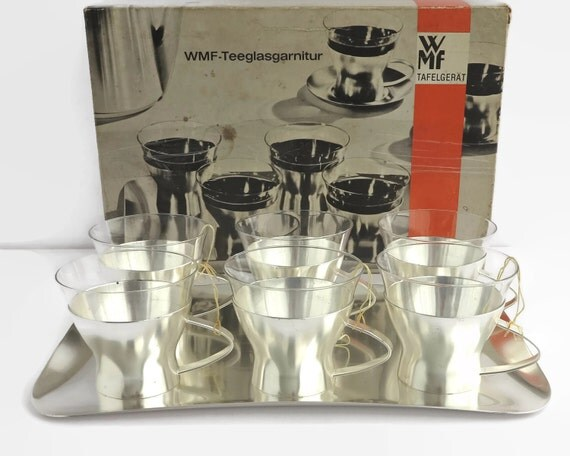 Vintage WMF tea service, 6 glass cups in removable stainless steel holders with tray, original box, made in Germany, 1950s / 60s