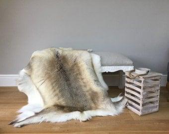 Reindeer hide rug throw