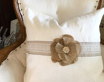 White Linen Pillow Floral Burlap Shabby Cottage Chic Throw Pillow Bedroom Accessory Farmhouse Decor