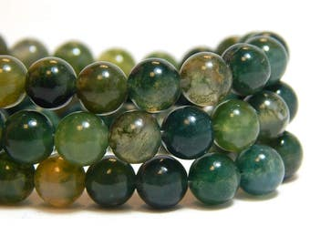 6mm Moss Agate, Full Strand, 6mm Moss Agate Beads, 6mm Green Beads, Moss Agate Beads, Green Beads, Moss Agate Gemstones, 6mm Gemstone, B-17C