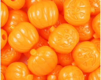 24 Orange Opaque 20mm Jack O Lantern Pumpkin Halloween Themed Pony Beads