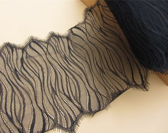 Skirts lace fabric,Black cording Lace ,3 meters off white French Chantilly Lace ,Exquisite Eyelash Lace Trim,Wedding lace fabric
