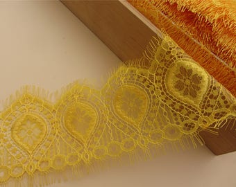 Skirts lace fabric, Lace trimming,3 meters yellow French Chantilly Lace ,Exquisite Eyelash Lace Trim,Wedding lace fabric