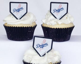 12 Los Angeles Dodgers Cupcake Rings MLB Baseball Toppers Party Favors