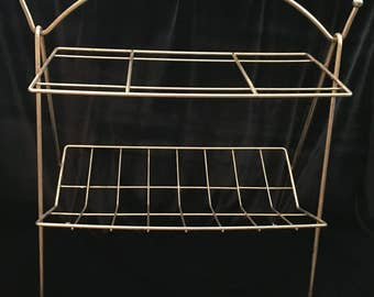 Vintage 2-Tier Shelf Magazine Rack Side Table Gold Tone Metal Hollywood Regency Mid Century