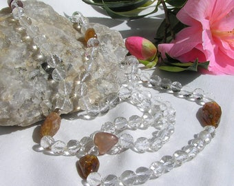 Long Faceted Quartz Necklace with amber coloured Tourmaline