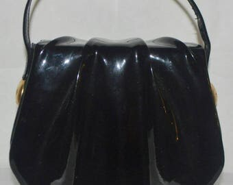 Vintage Black Patent Leather Small Geometric Evening Purse With Structured Detailing, Gold Hardware