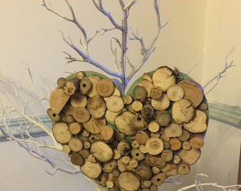 Handmade Driftwood wallhanging heart shaped plaque - Valentine, Engagement, Wedding