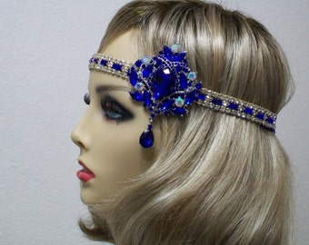 Flapper headpiece, Mardi Gras headpiece, Royal Blue 1920s headband, Rhinestone headband, 1920s accessories, Roaring 20s dress, Jazz Age