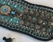 ICE PRINCESS, Beaded Cuff, Semi Precious Stone Jewelry, Cuff Bracelet, Beaded Bracelet, Twinkling Of An Eye, Labradorite, Artisan Jewelry