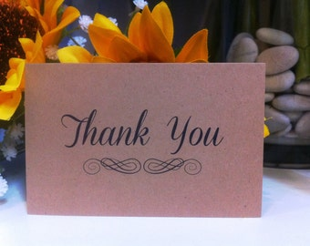 """Brown Kraft Cards """"Thank you"""" Pack of 10, Gift Tag, Thank You Card, DIY Wedding, Embellishment, Scrapbooking,Party Supplies,florist supplies"""