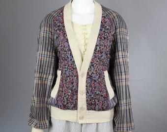 1980s Koos Van den Akker Cardigan jacket patchwork plaid stripe floral dolman sleeve batwing M L