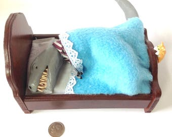 T-Rex in bed - Dollhouse miniature bed with dinosaur