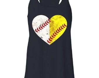 Baseball, Softball, Baseball Tank, Softball Tank Heart, grungy Baseball