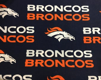 "DENVER BRONCOS nfl 60"" Cotton Fabric By The Yard All Over Blue Print Fabric Traditions"