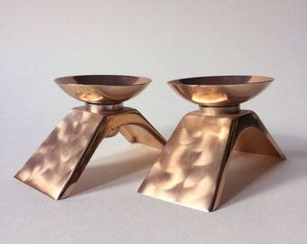 Wmf Ikora Mid-Century Rose Gold Candle Holders - A Pair