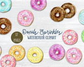 Watercolor Clipart Donut Sprinkles - pastel color donuts, chocolate donuts, donuts sprinkles and pattern for instant download scrapbook
