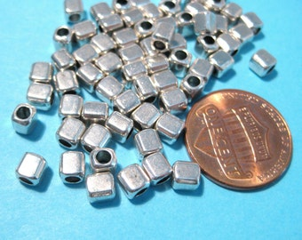100pcs Antique Silver Cube Spacer Beads 4mm