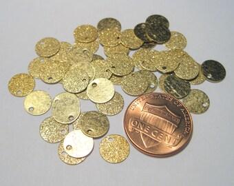 50pcs Round  Brass Tone Diamond Cut Sparkle-dust Charms 8mm( No.901)