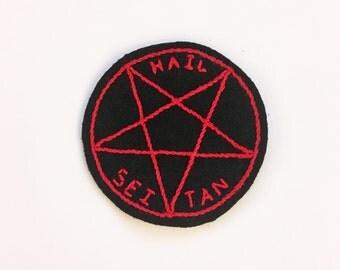 Hail Seitan - hand embroidered patch