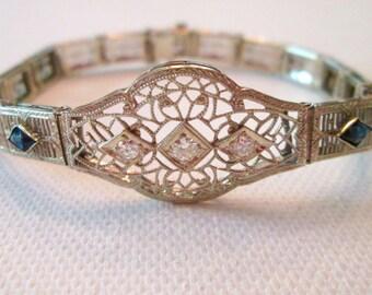 14k white gold vintage Diamond and synthetic sapphire bracelet