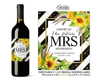 Bridal Shower Wine Label Cheers To The Future Mrs | Elegant Diy Printable Stripe Sunflowers Bridesmaid Favors Or Gifts Wine Bottle Labels